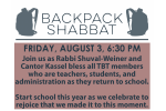 backpack shabbat