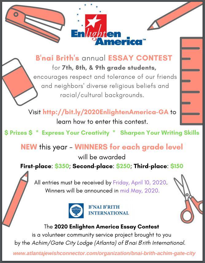 Enlighten America 2020 – the B'nai B'rith Essay Contest for