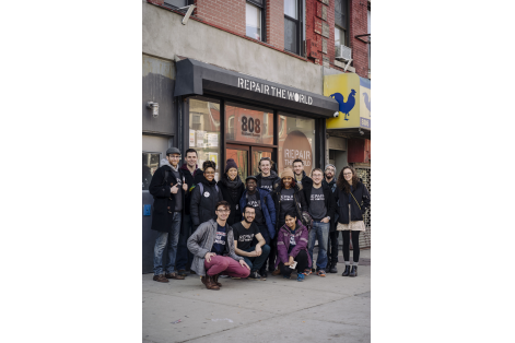 Repair The World volunteers on MLK day. 808 Nostrand aveCrown Heights, Brooklyn NY. photo by Stefano Giovannini