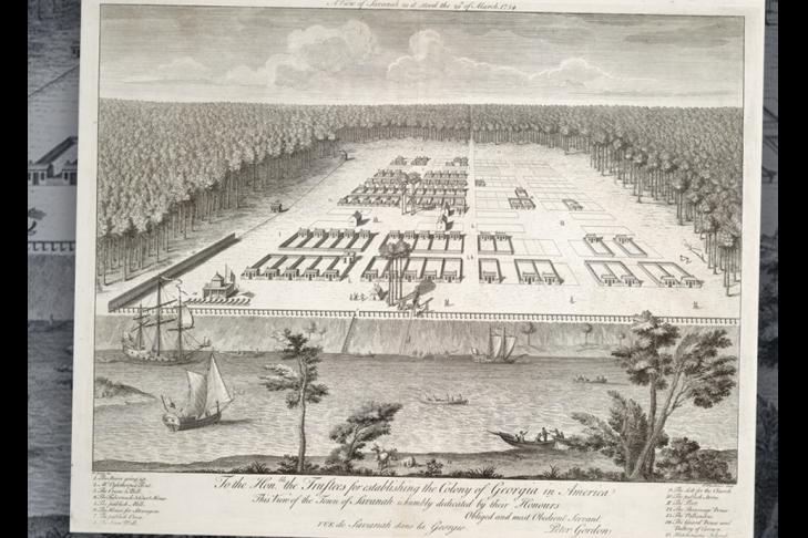 First Jews in Georgia Savannah 1734 map