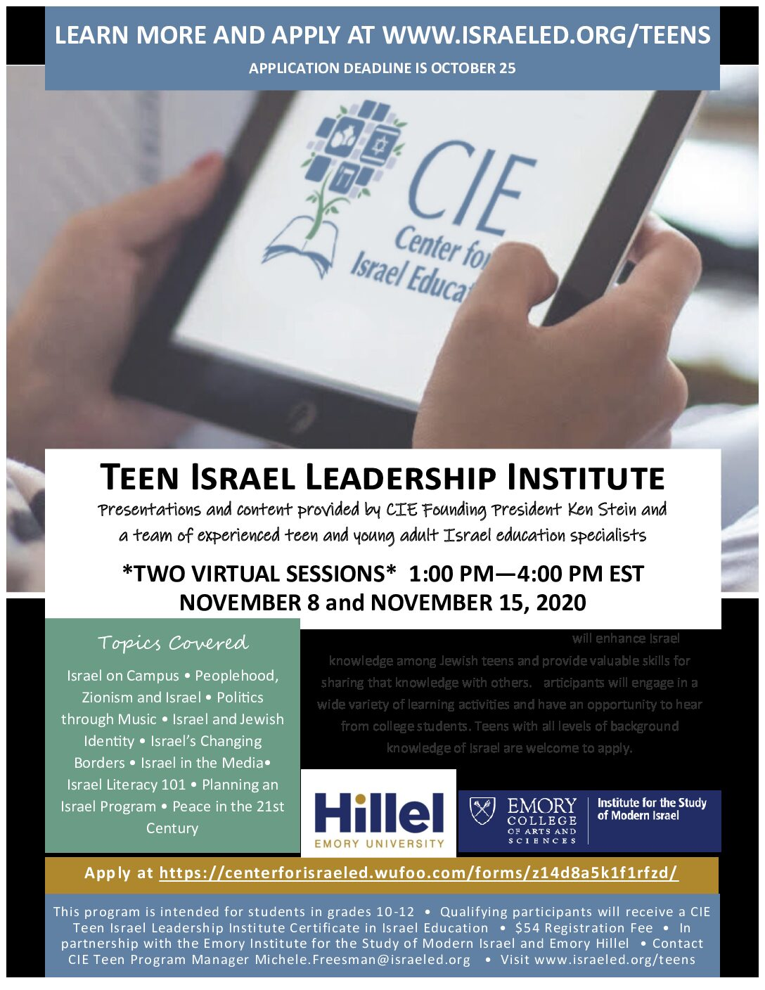 CIE Nov 2020 Teen Israel Leadership Institute