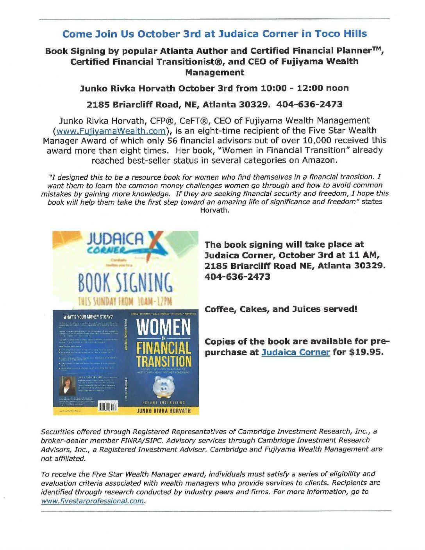 Oct 3rd Book Signing-Judaica Corner