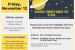Dinner Under the Stars November 12, 2021 with menu